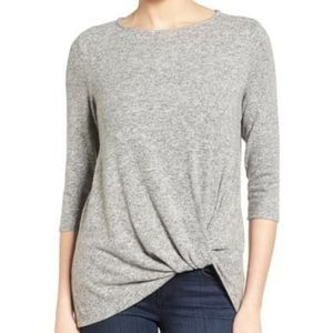 Gibson cozy twist front grey pullover sweater Sm